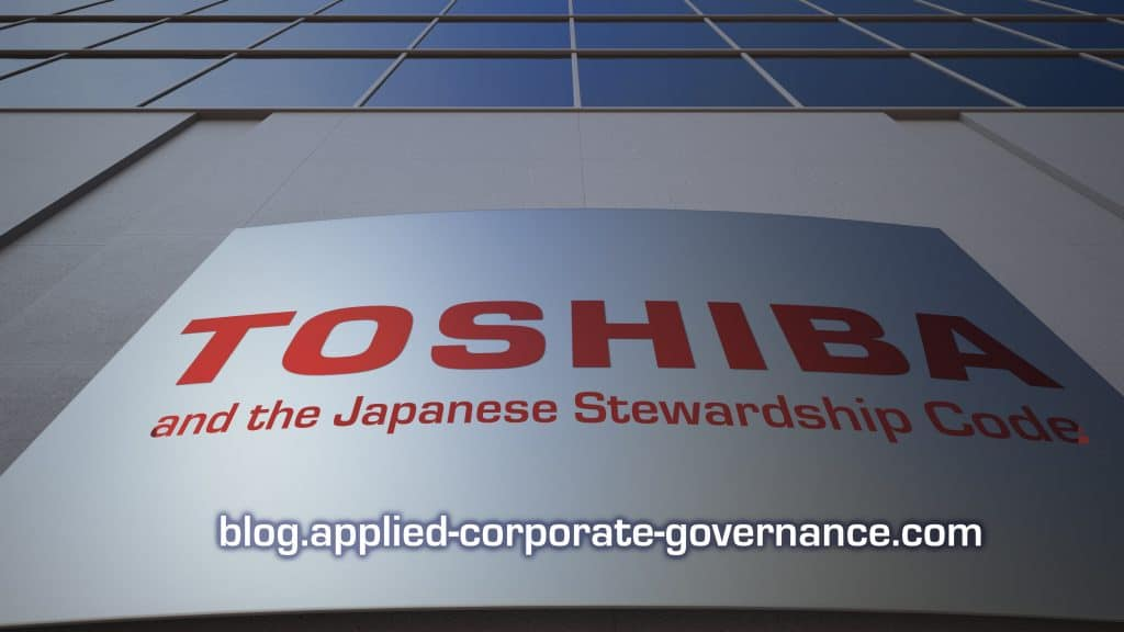 Toshiba and the Japanese Stewardship Code, image of Toshiba logo on office building with blog title